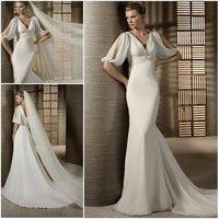 Simple Sheath V-Neck Short Sleeve Empire Floor Length White Chiffon Wedding Dresses 2012