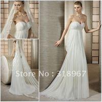 Consice White Chiffon Strapless Empire Appliqued Floor Length Wedding Dress
