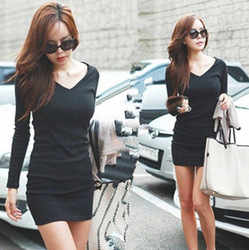 Free shipping women's long sleeve V-neck Grinding wool cotton long t shirt dress, casual dresses(China (Mainland))