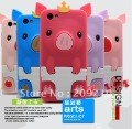 2012 New Design lovely cartoon TPU case,3D Crown pig back case for HTC ONE V T320E,1pcs/lot