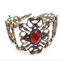 Beautiful unique red rhinestone hollow flower bronze bangle bracelets for lady woman  Free shipping Min order 10USD+gift  SL5023