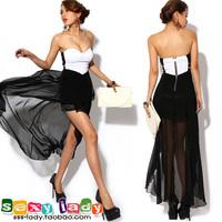 sexy dress club wear Strapless tube top black and white formal dress low-high irregular chiffon beach sexy one-piece dress gown
