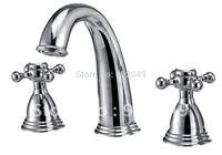 Dual Handles Vanity Bathroom Brass Zinc Alloy Handle Ceramic Spool Lavatory Sinks Kitchen Sink Faucet KF-6126