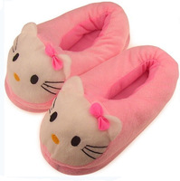 2011 warm slippers hello kitty cartoon plush cotton drag hello kitty slippers women's shoes