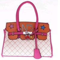 2012  Superstar rivet fashion  handbag  mixed color women handbags pu leather popular women shoulder bags handbag free shipping