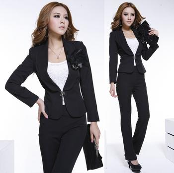2015 Spring Fashion ol formal work wear women pants suit  professional set for career ladies black free shipping