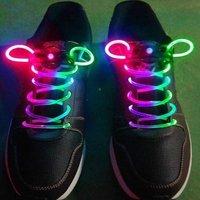50pairs/lot Hot 12 colors Classic Fiber Optic LED Flashing Shoelaces Neon Led strong light shoe laces Christmas Free shipping