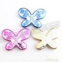 Promotion 27pcs/lot Mixed Color Butterfly Shape Waves Acrylic Straight Hole Beads Fit Jewelry DIY 43x33x7mm 112041