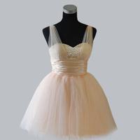 The bride wedding dress bridesmaid dress costume evening dress spaghetti strap princess dress short design