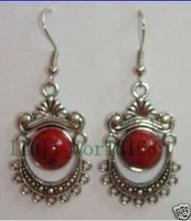 Tibet silver red Coral Dangle Earring