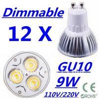 12pcs/lot Free DHL and FEDEX express CREE Dimmable High power GU10 3x3W 9W 110V/220V led Light Lamp Downlight led bulb spotlight