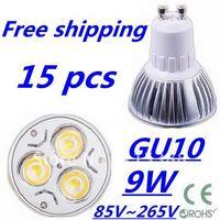 15pcs/lot Free DHL and FEDEX express CREE High power GU10 3x3W 9W 85V~265V led Light Lamp Downlight led bulb spotlight