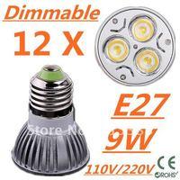 12pcs/lot Free DHL and FEDEX expressCREE Dimmable LED High power E27 3x3W 9W led Light led Lamp led Downlight led bulb spotlight
