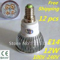 12pcs/lot Free DHL and FEDEX express CREE LED High power E14 4x3W 12W led Light led Lamp led Downlight led bulb spotlight