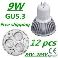 12pcs/lot Free DHL and FEDEX express CREE High power GU5.3 3x3W 9W 85V~265V led Light Lamp Downlight led bulb spotlight