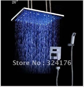"luxury 20"" big shower head bathroom shower set rainfall led lighting competitive price HM-6106-20"