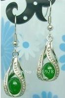 Tibet Silver Jewellery green jade Earring