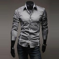 Free Shipping 2012 Brand New style Design Mens Shirts high quality Casual Slim Fit Stylish Dress Shirts 3 Colors Size:M~XXXL5902