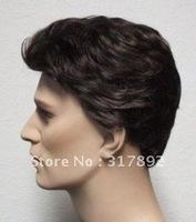 QQ men Fibre hair wig short men's wavy dark brown Very chic trend queen wigs