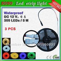 waterproof green led ribbon flex 5 meter 300 leds_free shipping 60 leds/m SMD5050 led thin led strip lights