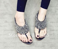Free shipping  bohemia flatbottomed beaded slippers women's shoes summer sandals female shoes