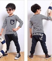 hot selling 5sets/lot new style autumn boy casual clothing set(striped coat+harem pants pants) clothes