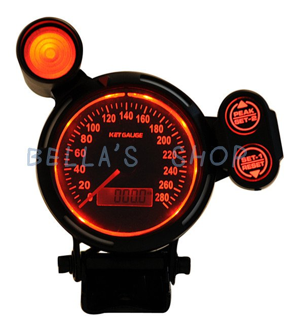 ket gauge3.75 inch odometer /speedometer/mph automotive  instrument gauge  red LED illuminance  shift lamp MPH warning function