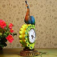 MOQ:1pcs, free shipping wholesale and retail new Sri Lanka colorful resin peacock table clock/ resin home decor