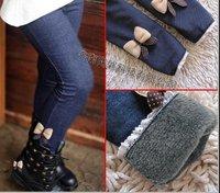 Free shipping  the latest  design  girls winter  non-inverted velvet  denim-like fabric  pants