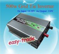 500w Grid Tie Inverter for Solar Panel (500 watt, 14V-28V DC input, 110V AC output, high quality, free shipping)