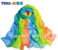 Chiffon color matching silk scarf female South Korea version of qiu dong shawl collar and super long pattern gauze kerchief