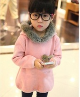 Children's clothing autumn and winter thickening female child long design sweatshirt rabbit fur fleece sweatshirt child