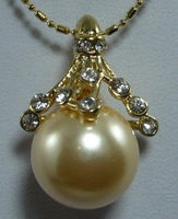 South Seas 14mm diamond-studded gold revision sallei pearl pendant gift 26