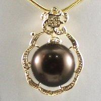 South Seas 14mm diamond coffee sallei pearl pendant gift 62