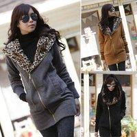 New 2014 Winter Fashion Korea Women's Girl Leopard Hooded Sweatshirt Jackets Coats Parka Outwear
