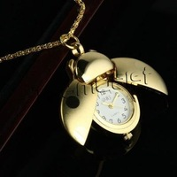 2pcs/lot, Fashion luxuriant Vivid Golden Beetle Ladybug Ladybird Pocket Pendant Necklace Quartz Watch For Lady Child Gift