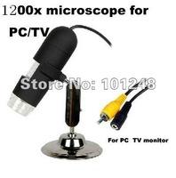 TV OUT 8 LED AV Digital Microscope Zoom 20-1200X 2.0M Video Camera Free Tracking avp028t12