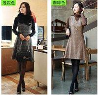2014 New Autumn/Winter Wool Vest dress,Sundress,Wool Latticed dress.