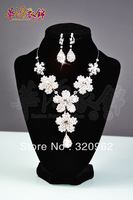Cwgc clothing sparkling plum type bride necklace earrings set wedding accessories x005 free shipping by EMS.