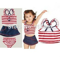 Retail-Freeshipping-Girls Toddler Sailor Stripe Swimwear Tankini Bather Beach Bikini Swimsuit Tutus Dress SZ2-8Years 4Pcs Set
