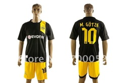 Free Shipping Cheap china quality 2012-13 Dortmund shirt away black soccer football uniforms jersey and short set M.GOTZE 10(China (Mainland))