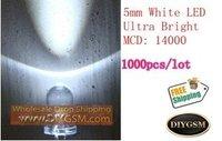 1000pcs,5mm white Round LED Diode,MCD:14000,High Bright LED lamp, LED lamp light,free shipping #1197