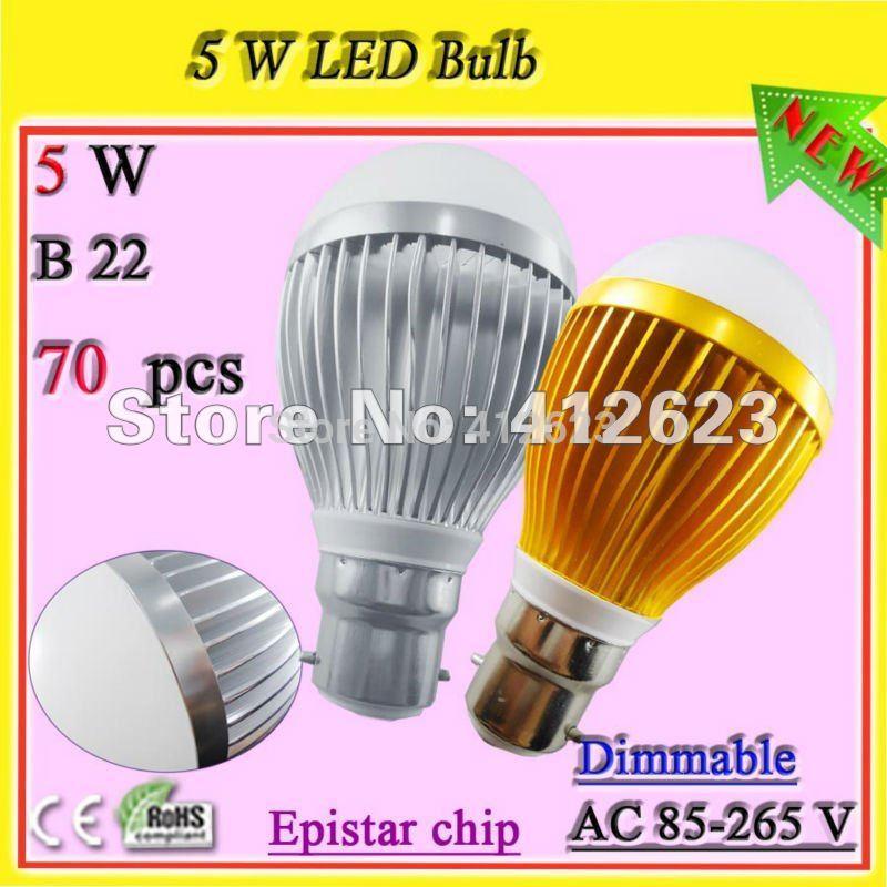 Free shipping B22 daylight bulbs_brightest 5watt led light bulb dimmable(China (Mainland))