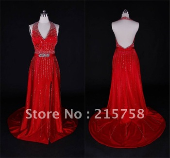 2013 New Arriva Custom made Discount Beaded Sequin Court Train Satin red Prom Dresses Evening Dress Gown