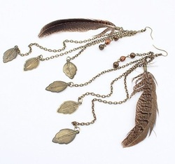 Extra Long Chain Link Feather Leaf Dangle Charm Drop Earrings Costume Jewelry Wholesale Free Shipping 93056 Womens(China (Mainland))