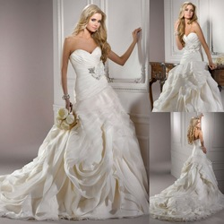 Special A Line Sweetheart Corset Closure Watteau Train Wedding Dresses Bridal Gowns(China (Mainland))