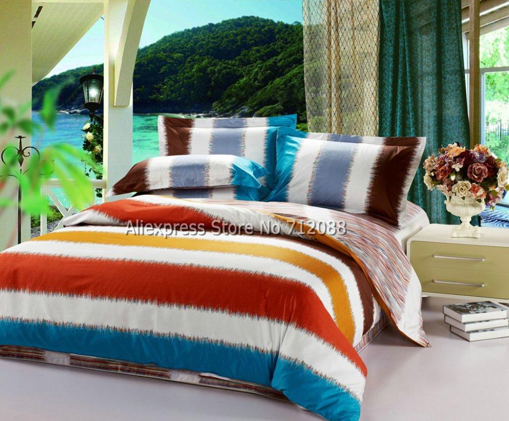 Wholesale bedlinen 4pcs queen full king cotton comforter - Orange and blue comforter ...
