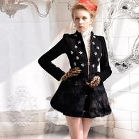 luxury flower/ sparkling/ diamond/Black coat wool outerwear