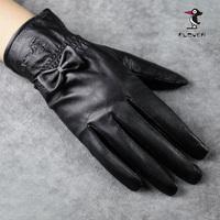 2012 Sheepskin gloves female winter bow genuine leather gloves women's fashion glove thin FREE SHIPPING