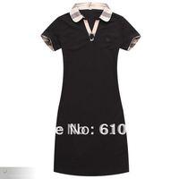 Free shipping women  short sleeve turn-down collar dress lady slim shirt fashion plaid pattern shirt #taohuajian1013-3